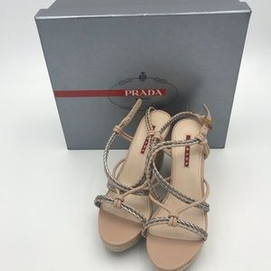 NWT Prada Braided platform sandals